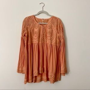 Free People Peach Embroidered Sequined Tunic